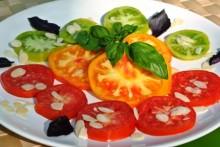 carpacio de tomates parmesan d'amande